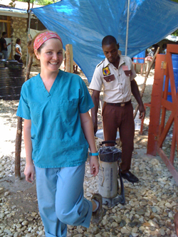 Working with Cholera patients in Haiti.