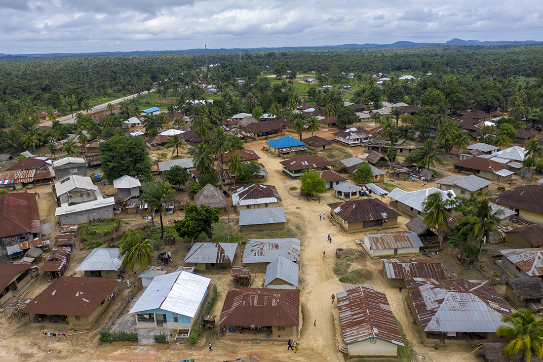 Aerial shot of village in Sierra Leone