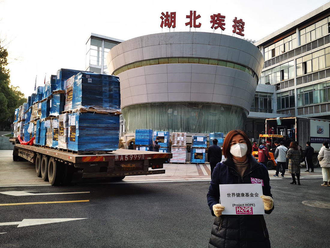 Project HOPE staff in China have received the first shipment of critically needed protective equipment, including 2 million face masks, 11,000 protective suits, and 280,000 pairs of exam gloves provided by MAP International and MedShare, utilizing in-kind transport from UPS.